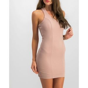 Buckle Mauve Pink Ribbed Bodycon Dress